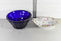 LARGE BLUE GROUND ART GLASS BOWL TOGETHER WITH A CONTINENTAL PORCELAIN BOWL DECORATED WITH FLOWERS