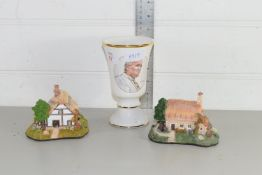 TWO MODEL COTTAGES AND VASE PRODUCED BY ROYAL WORCESTER PALLASEY TO COMMEMORATE THE VISIT OF THE