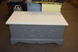PAINTED WOOD TOY BOX
