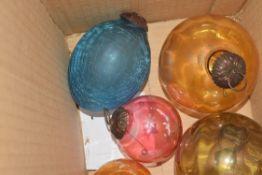 BOX OF SMALL GLASS DECORATIVE BALLS