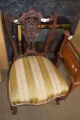 CARVED 19TH CENTURY MAHOGANY BEDROOM CHAIR