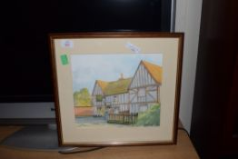 FRAMED WATERCOLOUR OF A COUNTRY PUB SIGNED JOHN NEWMAN