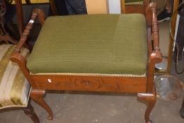 EARLY TO MID 20TH CENTURY UPHOLSTERED PIANO STOOL