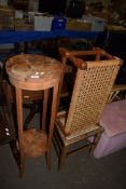 STRIPPED WOOD PLANT STAND AND A FOOTSTOOL AND CANE SEATED CHAIR