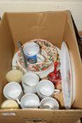 BOX OF CLEARANCE ITEMS, PLATES, MUGS ETC
