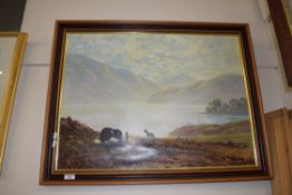 FRAMED COULSON PRINT OF A LANDSCAPE WITH SHEEP AND DOG