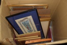 BOX CONTAINING FRAMED PICTURES