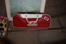 BAG CONTAINING VINTAGE WOODEN TENNIS RACKETS ETC