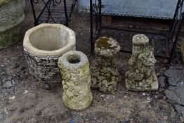 QTY OF COMPOSITE GARDEN STATUES AND PLANTERS