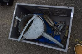 CRATE CONTAINING GALVANISED WATERING CAN AND A PAIR OF BOAT ANCHORS