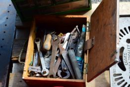 SMALL TOOLBOX CONTAINING PLIERS, SPANNERS ETC