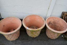 THREE TERRACOTTA PLANTERS, HEIGHT 45CM