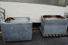 TWO GALVANISED TANKS, WIDTH APPROX 109CM, HEIGHT 75CM