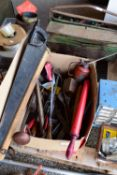 BOX CONTAINING VINTAGE TOOLS, SPANNERS, ADJUSTABLE SPANNERS, SCREWDRIVERS ETC