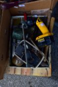 TRAY OF TOOLS, HAMMERS, CLAMPS, A DE WALT CORDLESS BATTERY OPERATED LIGHT