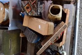 BOX CONTAINING A BENCH VICE, SPARK PLUG CLEANER, VARIOUS TOOLS ETC