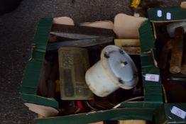 BOX OF VARIOUS TOOLS, PLANES, SCREWDRIVER SET ETC