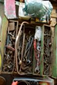 TOOLBOX CONTAINING VARIOUS TOOLS, SPANNERS, ADJUSTABLE WRENCHES ETC