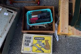 VINTAGE STANLEY PLANE AND A BOX OF SPANNERS AND DRILL BITS