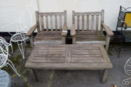 PAIR OF WOODEN GARDEN SEATS WITH A COFFEE TABLE