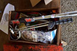 BOX CONTAINING TOOLS, PLUMBING PARTS, SCREWS, RATCHETS ETC