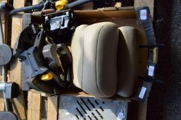 QTY OF CAR HEAD RESTS AND A CAR WHEEL JACK