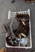 TRAY OF MIXED IRONMONGERY TO INCLUDE JUBILEE CLIPS, NAILS, BARBED WIRE AND A SWAN-NECK LAMP