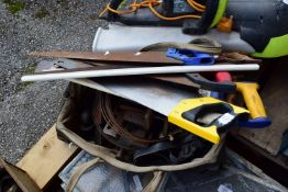 BAG OF MIXED WOOD WORKING TOOLS AND SAWS