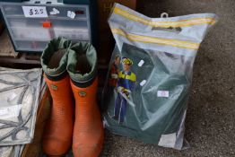 SET OF CHAIN SAW TROUSERS AND A PAIR OF CHAIN SAW BOOTS