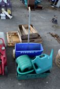 BOX CONTAINING QTY OF WATERING CANS AND JERRY CAN, PLUS A GARDEN SEED SPREADER