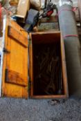 TOOLBOX CONTAINING VINTAGE SPANNERS ETC