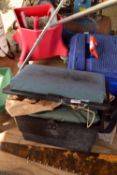 FISHING TACKLE BOX CONTAINING A LARGE QTY OF FISHING RELATED ITEMS, REELS, FLOATS, LINE ETC