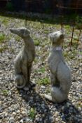 PAIR OF SMALL SEATED WHIPPETS, HEIGHT 55CM