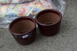 PAIR OF SMALL PLANT POTS, HEIGHT APPROX 14CM