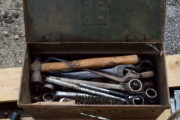 METAL TOOLBOX CONTAINING QTY OF SPANNERS