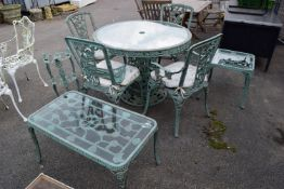 FOUR-SEATER METAL GARDEN FURNITURE SET TO INCLUDE TWO SIDE TABLES AND A POT STAND