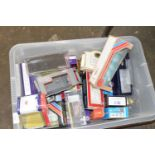 Box containing empty die-cast and model railway boxes, Corgi, Hornby etc