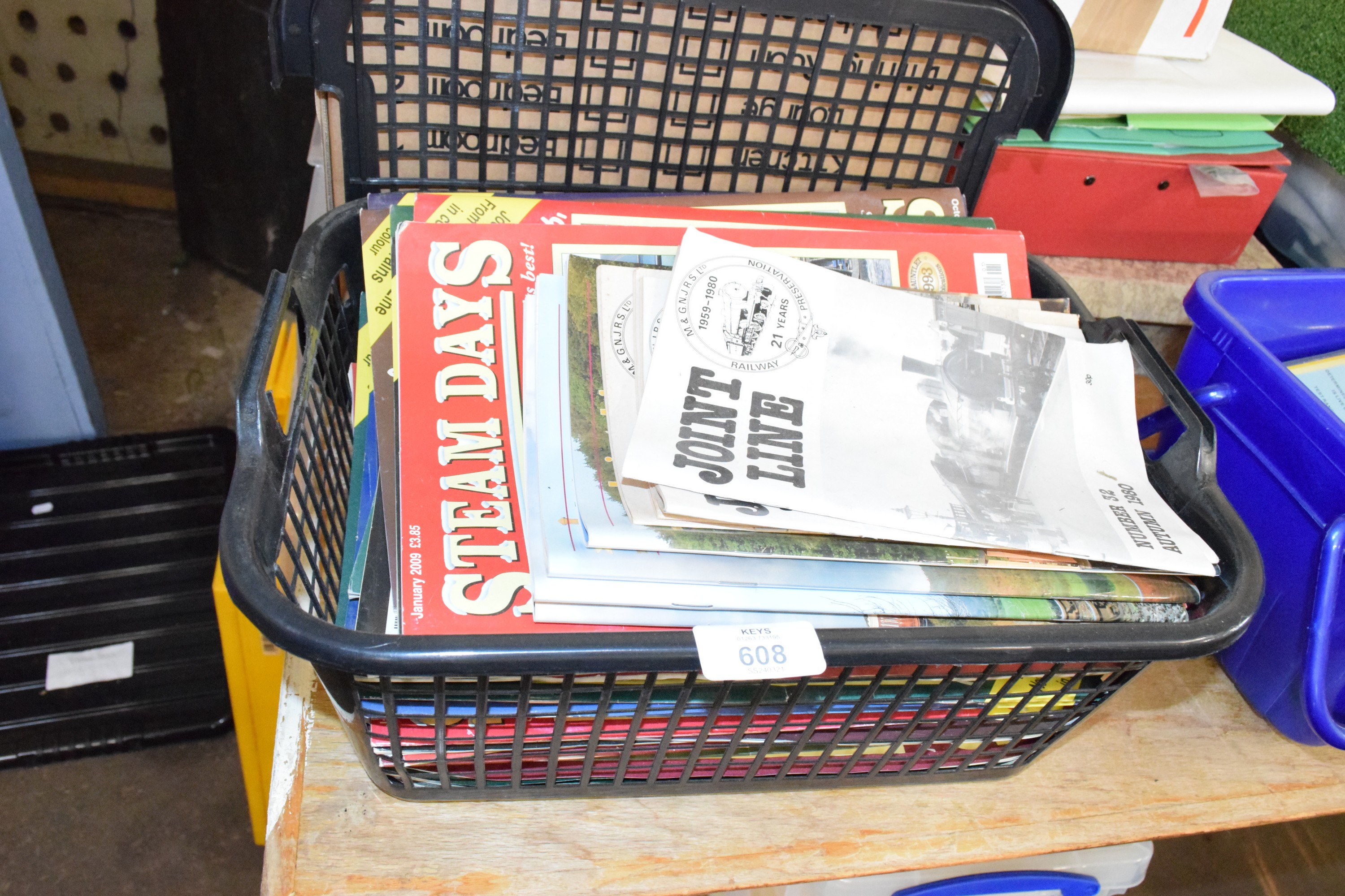 Small box containing mainly Steam Days, railway magazines circa early 2000s