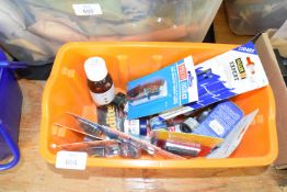 Small box containing mainly Humbrol acrylic paints