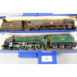 """Hornby """"Sir Dinadan"""" locomotive No 795, together with a Hornby Merchant Navy Class United States"""