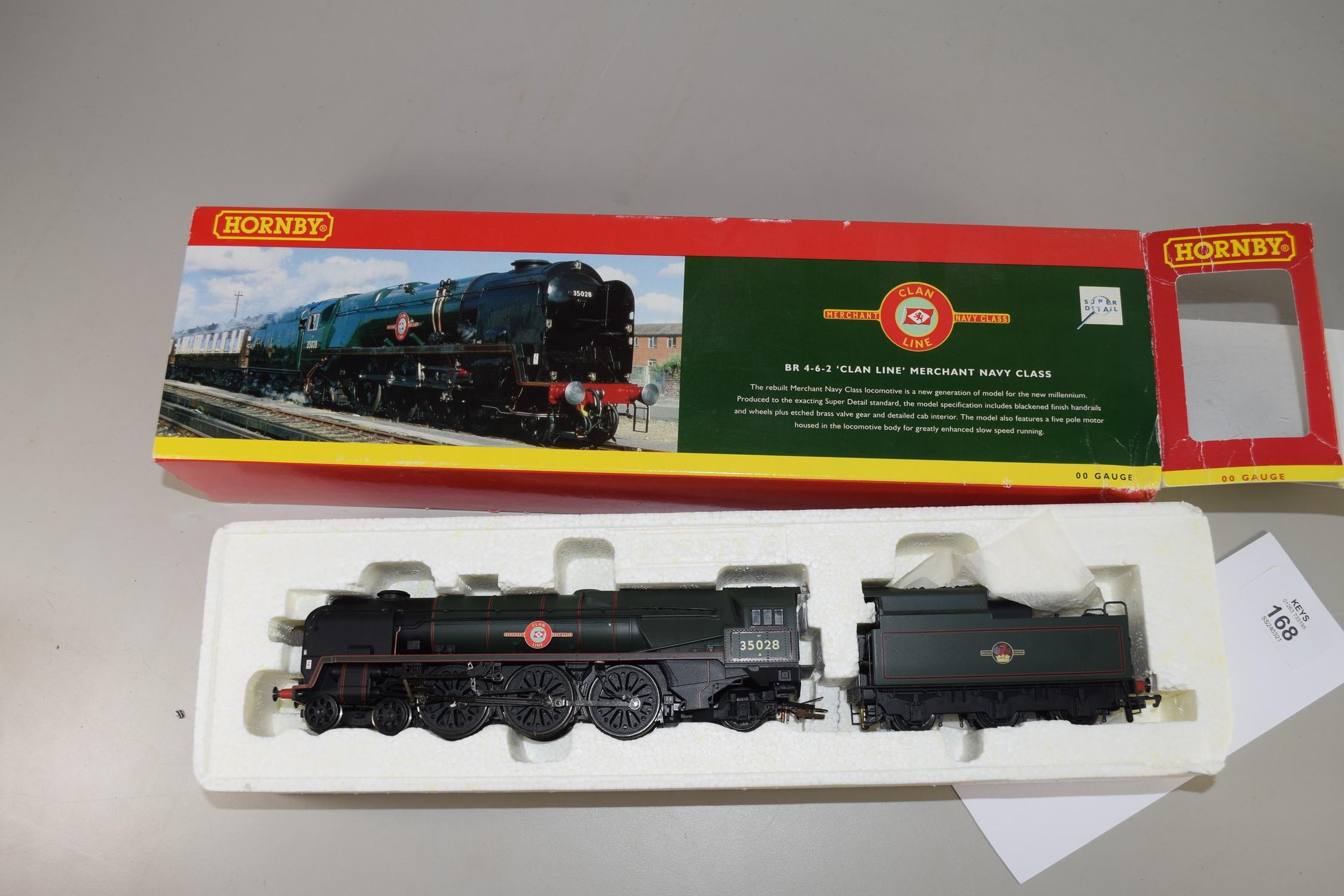 "Boxed Hornby 00 gauge R2169 BR 4-6-2 Merchant Navy class ""Clan Line"" locomotive No 35028"