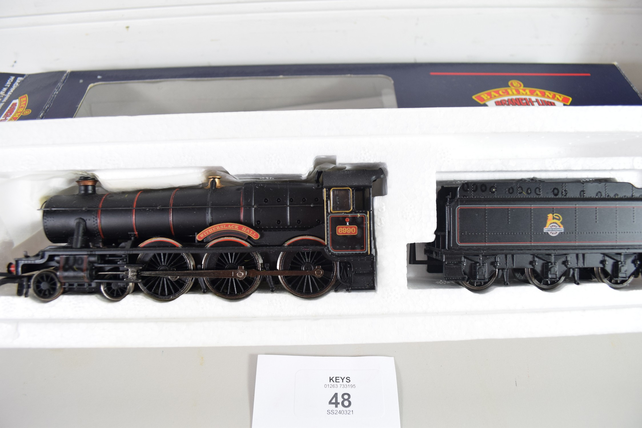 """Boxed Bachmann 00 gauge 31-775 modified haul """"Witherslack Hall"""" BR lined black e-emblem, No 6990 - Image 2 of 2"""