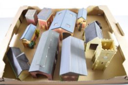 Group of resin and plastic models of buildings to include engine shed, water tower, church etc