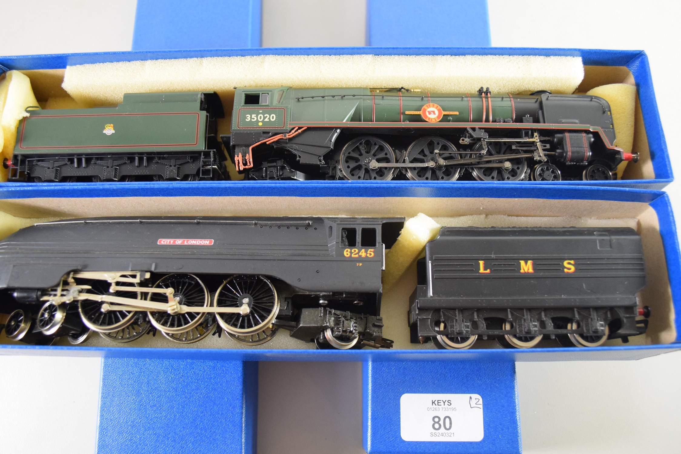 """Hornby Coronation """"City of London"""" locomotive No 6245, together with a Hornby Merchant Navy Class """""""