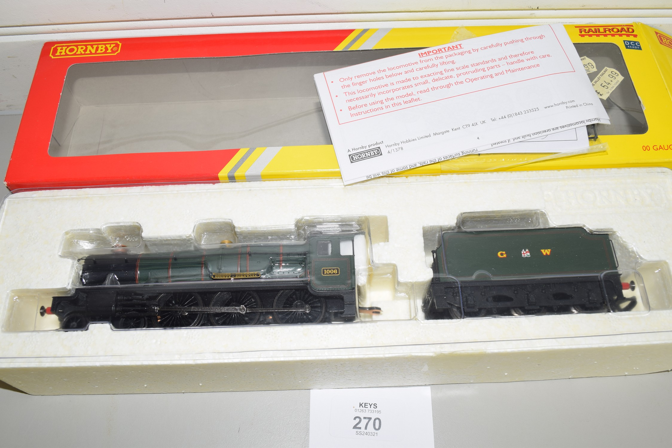 """Boxed Hornby 00 gauge R2937 GWR County class """"County of Cornwall"""" locomotive No 1006"""