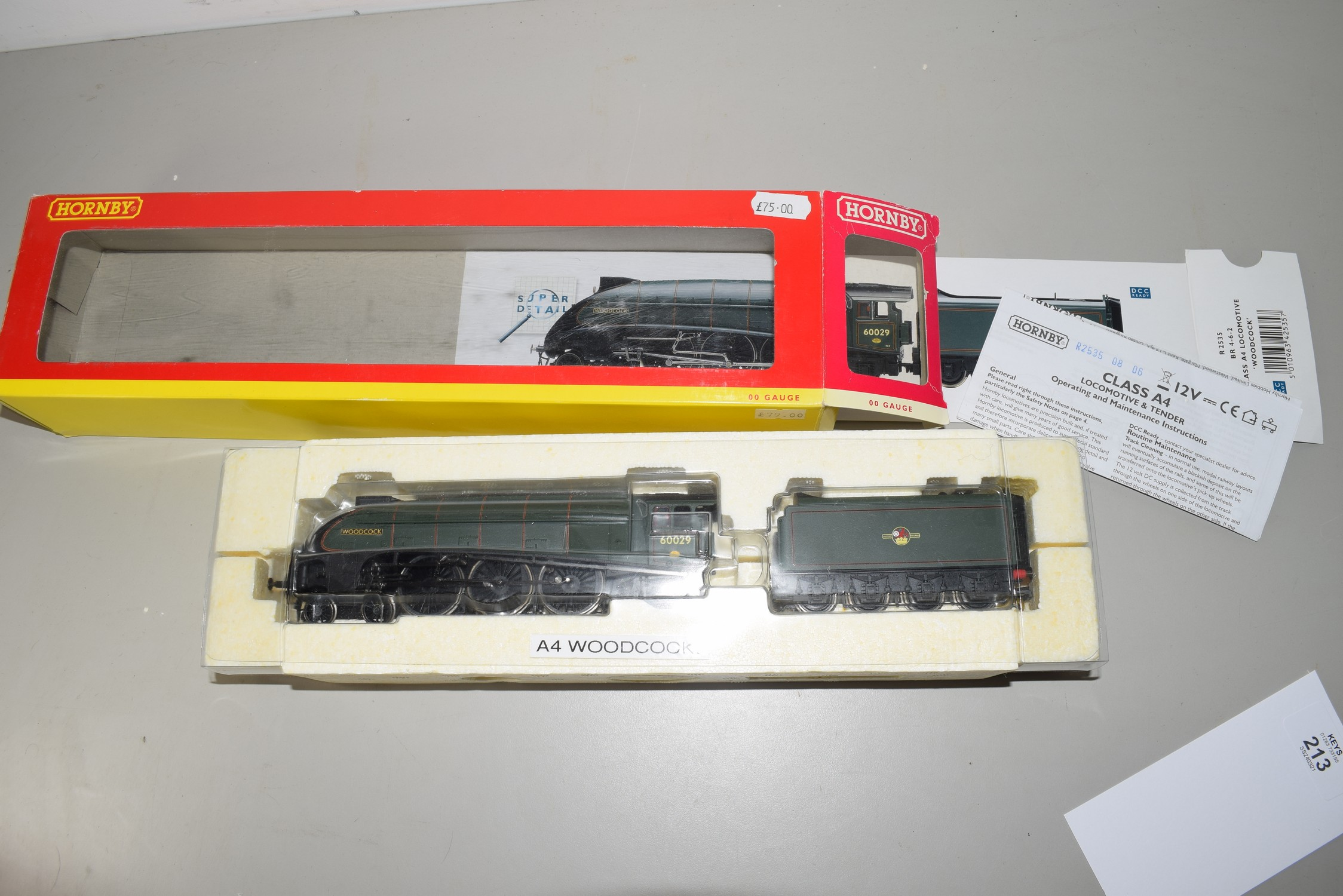 """Boxed Hornby 00 gauge R2535 BR 4-6-2 Class A4 """"Woodcock"""" locomotive, No 60029"""