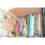 Box containing hardback railway related books plus small quantity of magazines