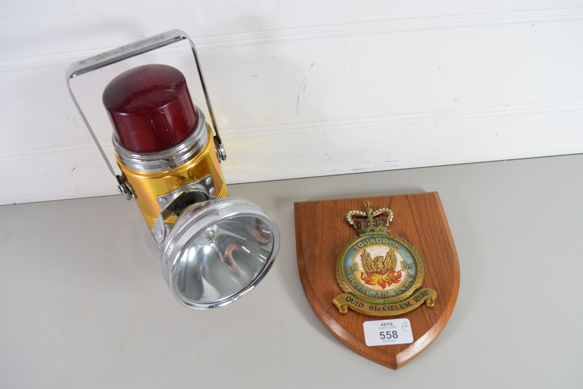 Wooden plaque for 56 Squadron, RAF, together with a Pifco dome lamp