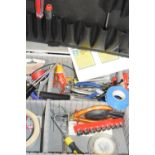 Metal toolcase and contents to include screwdrivers, spanners, pliers etc