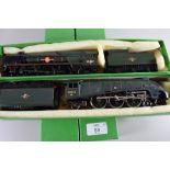 "Hornby Merchant Navy class ""Port Line"" locomotive, No 35027, together with a Hornby Mallard"